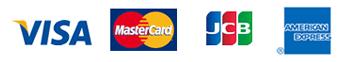 VISA、Master Card、JCB、AMERICAN EXPRESS、Diners Club
